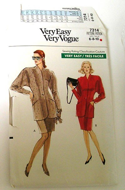 Jacket Skirt Vintage Pattern Sewing - Vogue 7314 - Size 6-8-10