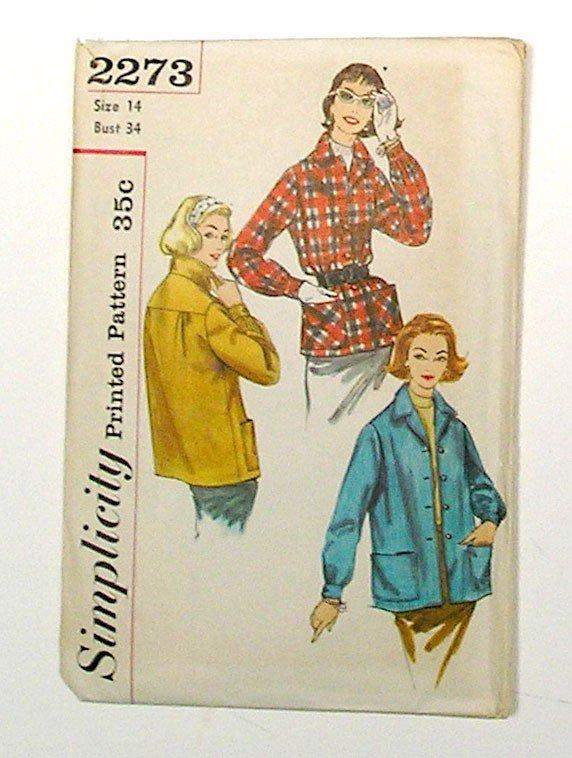Jacket Sewing Pattern, Vintage 1950s WOMEN CASUAL JACKET, Simplicity 2273.