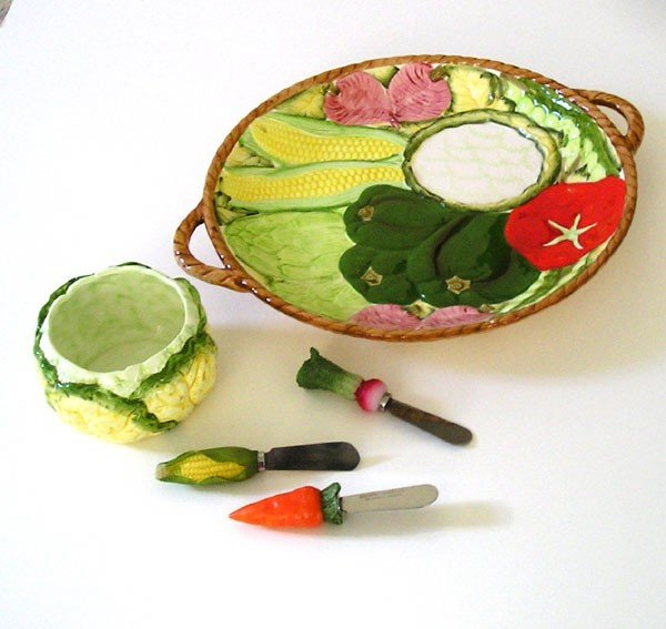 Serving Platter, Appetizer Set, Ceramic Porcelain, Retro Japan 1983, impressionistic, hand painted