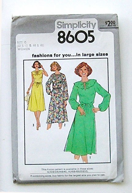 Dress Sewing Pattern Simplicity 8605 vintage - Size G (40, 42, 44, 46), late 1970's.