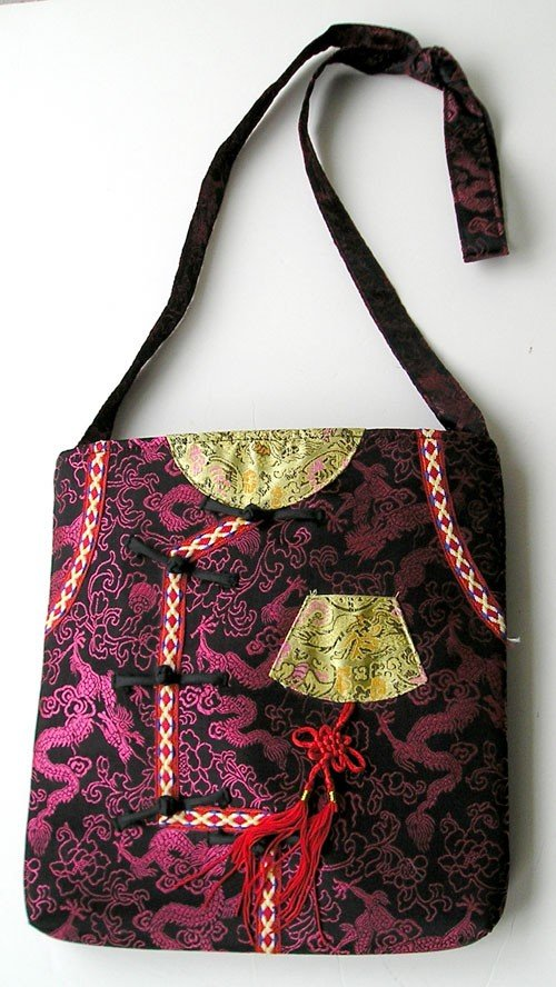 Fabric patchwork bohemian purse, Brocade colorful design Tote Bag from the 1980s.