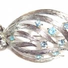 "Brooch silver tone and blue rhinestones, vintage 70""s"