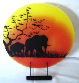African Elephant Plate Candle