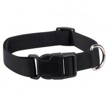 "Jet Black Fashion Nylon Adjustable Dog Collar 14""-20"" Neck"