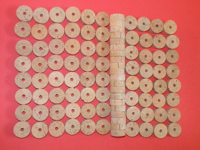 "100 CORK RINGS 11/4""X1/2"" BORE 1/4"" GRADE EXTRA - 1.25"