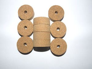 """10 CORK RINGS RUBBERIZED BROWN 1 1/4"""" X 1/2""""  BORE 1/4"""" NEW!!"""