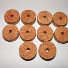 "10 BURL CORK RINGS 11/4""X1/2"" DEEP RED  BORE 1/4"""