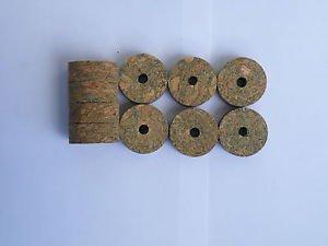 "10 BURL CORK RINGS 11/4""X1/2"" GREEN  BORE 1/4"""