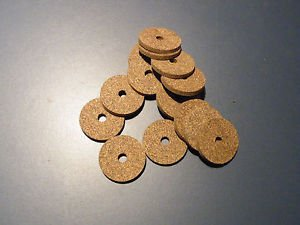"15 RUBBERIZED CORK RINGS 1 1/4""X1/8"" BORE 1/4"" BLACK FINE GRAIN -NEW !!!!!!!"