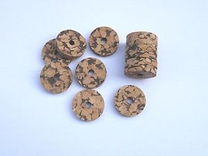 "12 BURL CORK RINGS 1 1/4""X1/4"" W+B  BORE 1/4"""