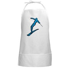 Water Ski BBQ Barbeque Grilling Long White Cooking Apron