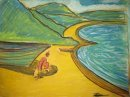 Original Pastel. Bamayo and child.