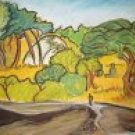Original Pastel. Lone man in Bush.