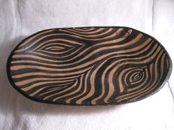 Hand painted hand carved wood bowl