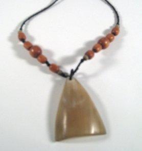 """16"""" Mukwa and Umuseshi handmade wood bead necklace with pendant"""