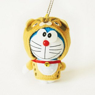 Doraemon/DingDang Cosplay Tiger Plush Toy Keychain
