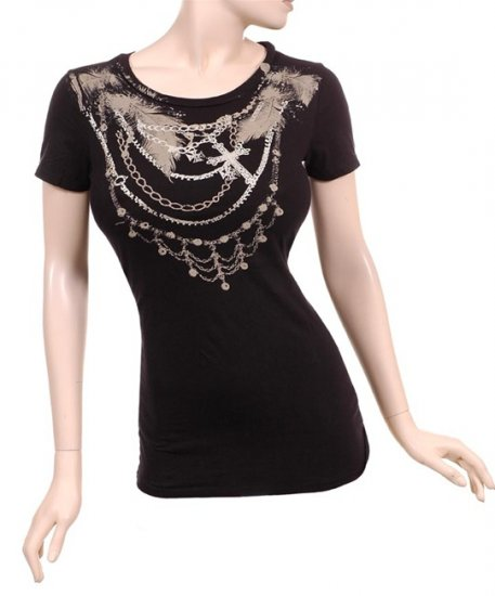 Black Feather Chain Bondage Graphic T-Shirt