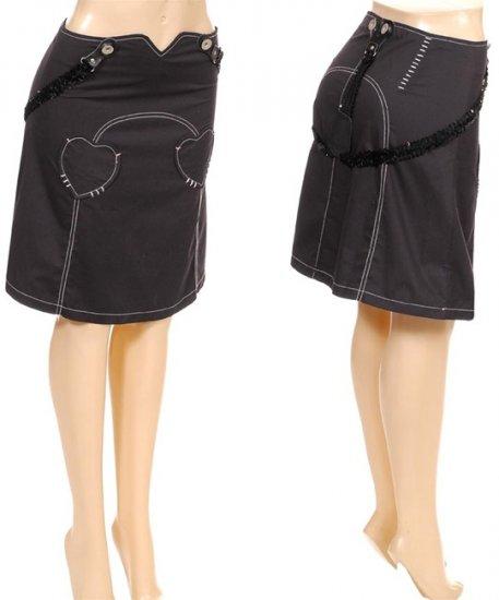 Black Heart Cyber Strapped Skirt