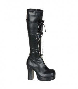 Gothika Black D-Ring Chain Knee Boot