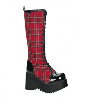 Red Plaid Platform Boots