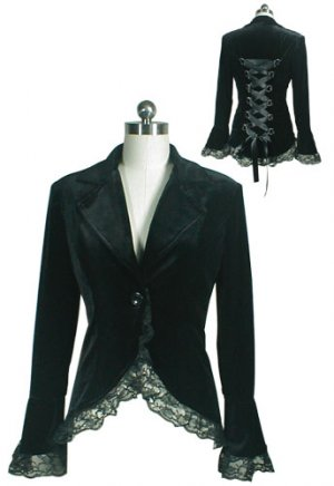 Black Gothic Lace Trim Corset Velvet Jacket
