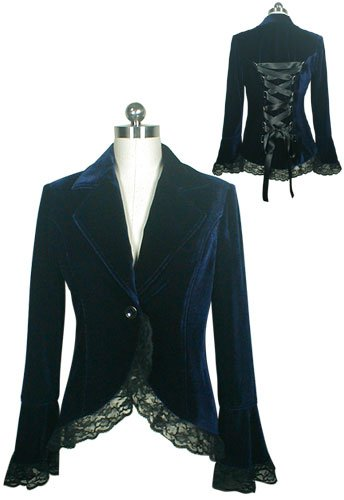 Blue Gothic Lace Trim Corset Velvet Jacket