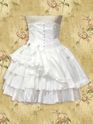 White Ruffle Layered Lolita Corset Skirt