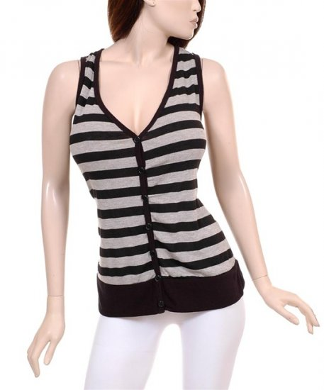 NEW Black and Grey Striped Stretchy Button Vest