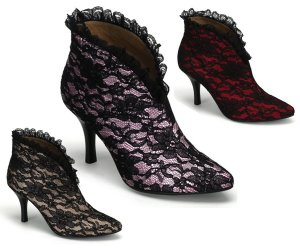 """Bordello"" Satin w/ Lace Overlay Slip-On Ankle Boot"