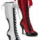 &quot;Bordello&quot; Masquerade Ribbon Lace Up Two-Tone Knee Boots