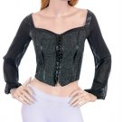 Black Gray Bustier Fantasy Faire Blouse