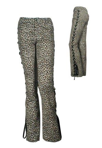 Plush Velveteen Laced-Side Leopard Pants