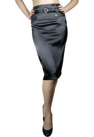 High-Waist Belted Satin Pencil Skirt