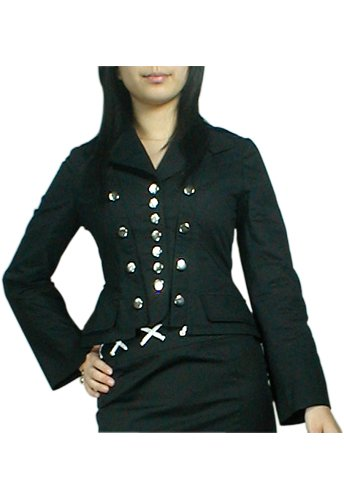 Fitted Lace-Up Corset Military Jacket Blazer