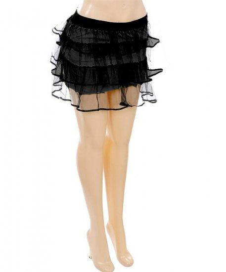 Tulle Net Layered Mini-Skirt Black