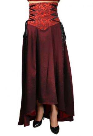 Dark Red/Burgundy Flowing Corset-Laced Waist Skirt