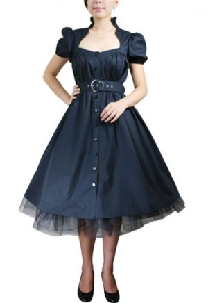 Belted Waist Button Front Retro Coat Dress