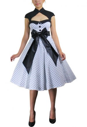 Deluxe Bow Polka-dot Dress White