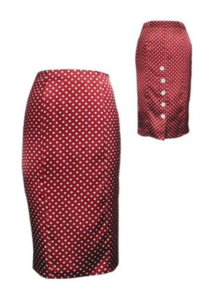 Red Sexy Polka Dot High-Waist Pencil Skirt