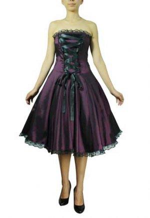 Purple Corset Ribbon Lace Dress