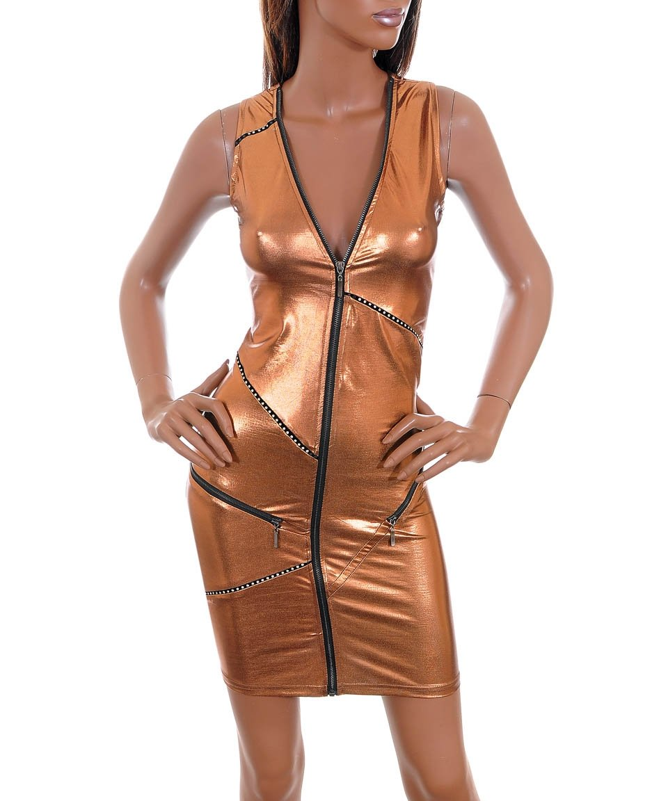 NEW Copper Metallic Zip Dress Cyber Club Steampunk