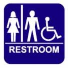 """Unisex Restroom Sign - 8"""" X 8"""" - Disabled Accessible"""
