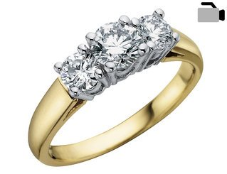 Diamond Engagement Anniversary Three Stone Ring 1/2 Carat (ctw) in 14K Yellow Gold