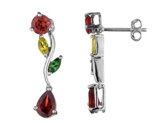 Dangling Garnet, Citrine and Peridot Gemstone Earrings in White Gold