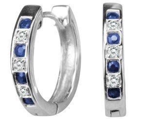 Sapphire Huggie Hoop Earrings in White Gold (half inch)