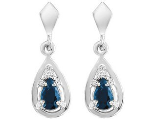 Blue Sapphire Pear Shaped Drop Earrings with Diamond in White Gold (2/3 inch