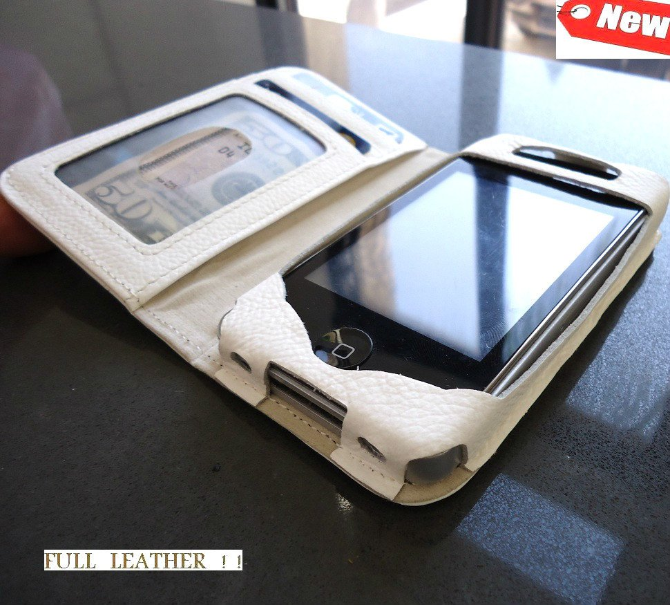 genuine real leather case for iphone 4s cover pouch s 4 book wallet 3 card WHITE free shipping !