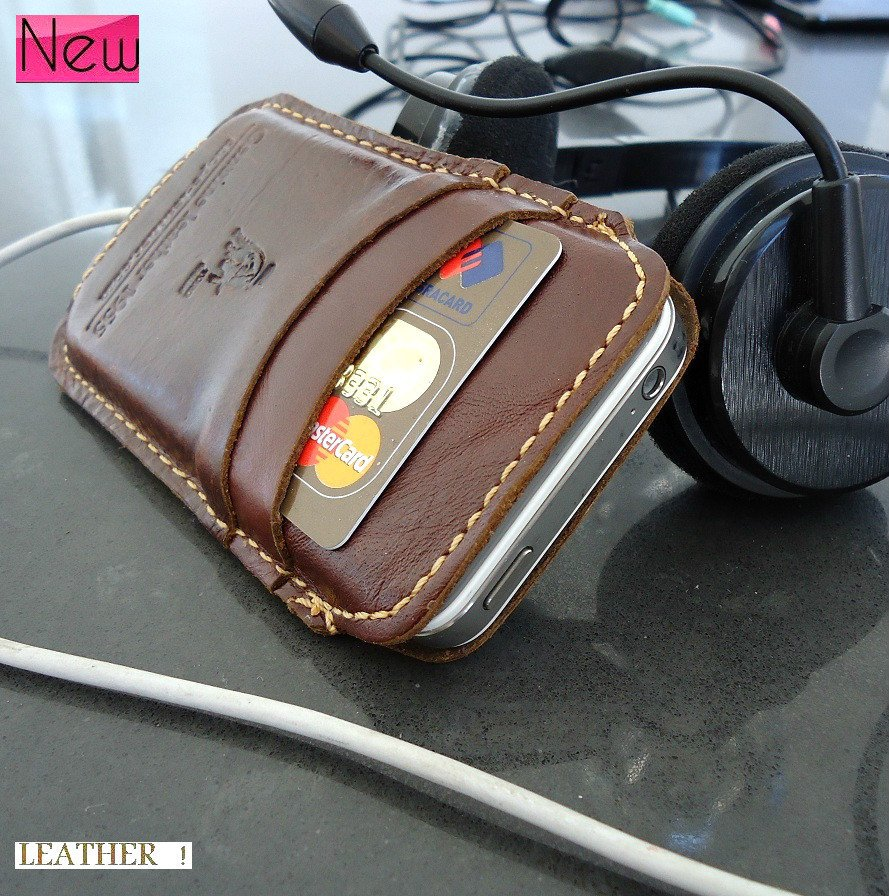 genuine natural leather handmade case for iphone 4s cover purse s 4 3 3gs R slim TO free shipping !