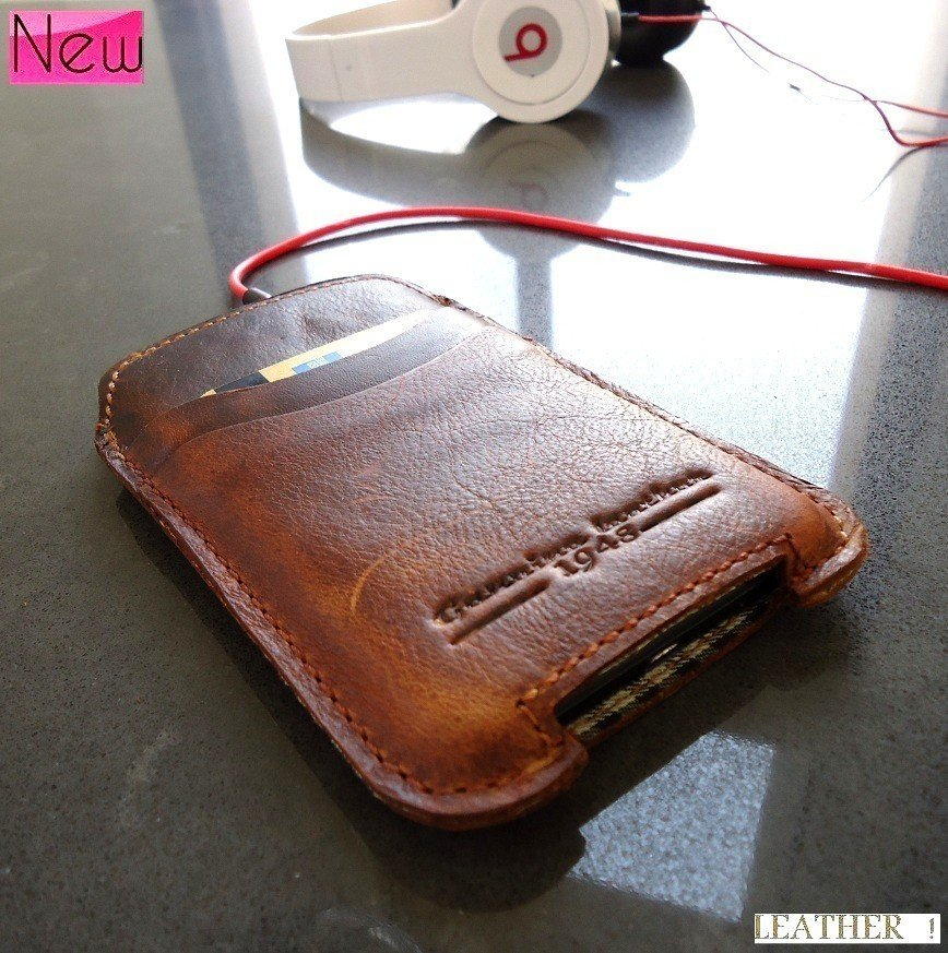 real leather case for i phone cover purse pouch brown 4 iphone4 cover iphon3 newTO free shipping !