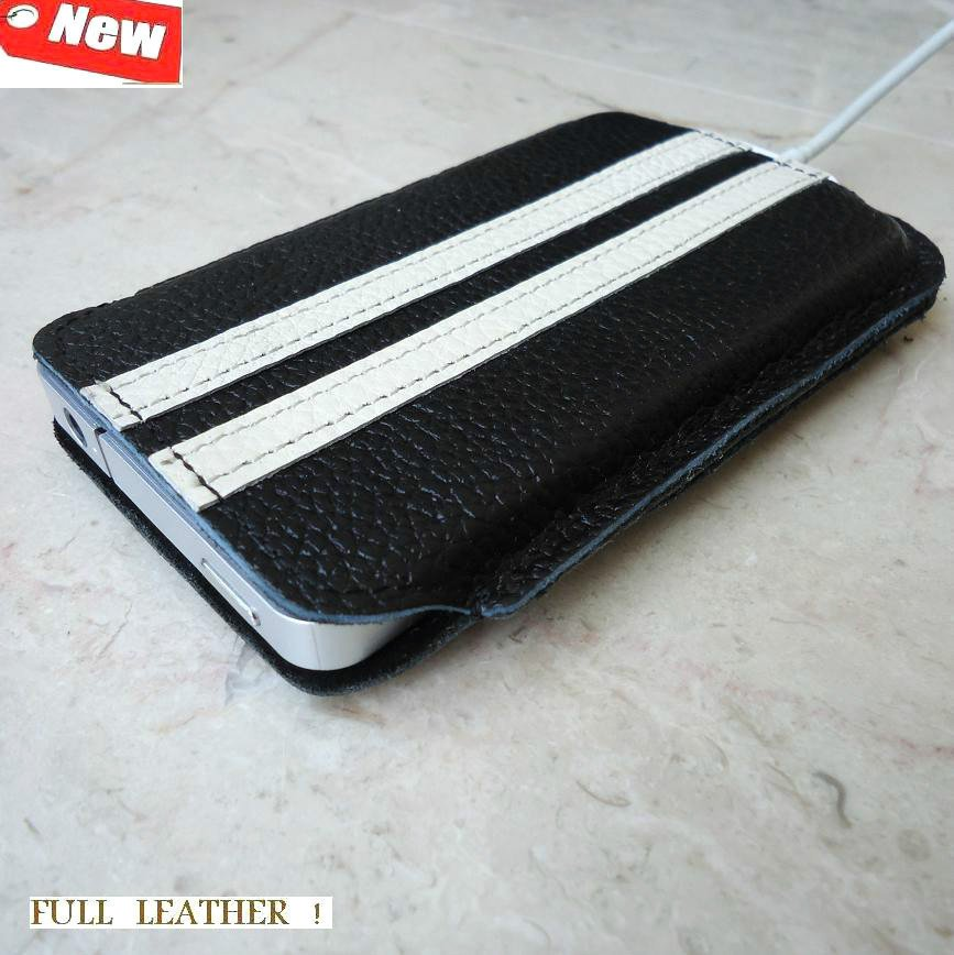 eal full leather case fit for iphone 4s cover purse pouch s 4 black pocket slim free shipping !
